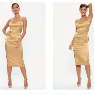 NWT Misguided gold satin cowl front midi dress